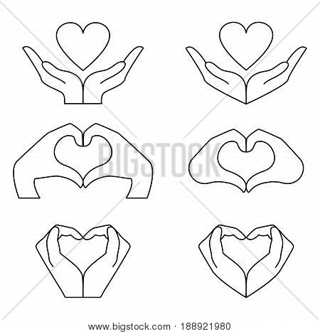 Hand and heart icons set. Vector elements to denote love and health.
