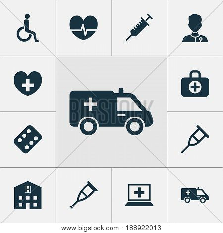 Medicine Icons Set. Collection Of Remedy, Surgical Bag, Stand Elements. Also Includes Symbols Such As Peck, Rack, Crutch.