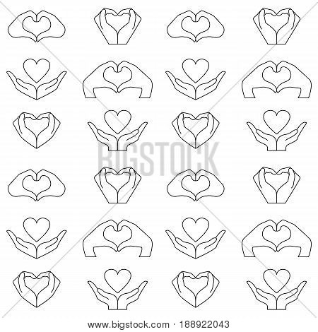 Pattern from hand and heart icons set. Vector background to denote love and health.