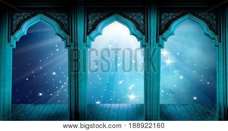 Islamic greeting Eid Mubarak cards for Muslim Holidays.Eid-Ul-Adha festival celebration.Ramadan Kareem background with  mosque arch.