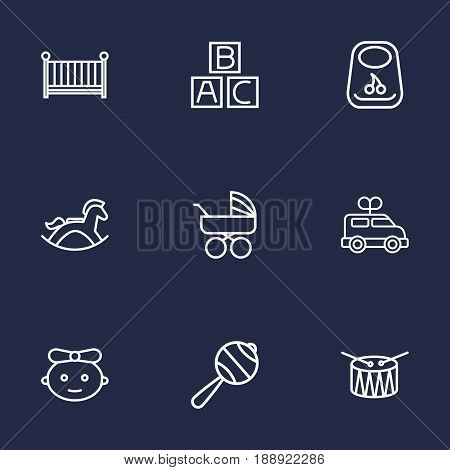 Set Of 9 Child Outline Icons Set.Collection Of Rattles, Rocking Horse, Clockwork Car And Other Elements.