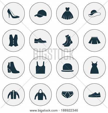 Clothes Icons Set. Collection Of Singlet, Elegance, Heel Footwear And Other Elements. Also Includes Symbols Such As Visor, Cap, Wear.