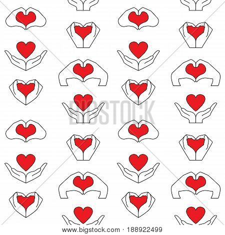 Seamless pattern from hand and red heart icons set. Vector wallpaper to denote love and health.