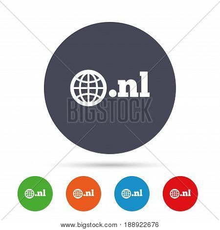 Domain NL sign icon. Top-level internet domain symbol with globe. Round colourful buttons with flat icons. Vector