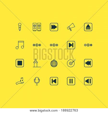 Multimedia Icons Set. Collection Of Last Song, Note, Dance Club And Other Elements. Also Includes Symbols Such As Back, Mike, Megaphone.