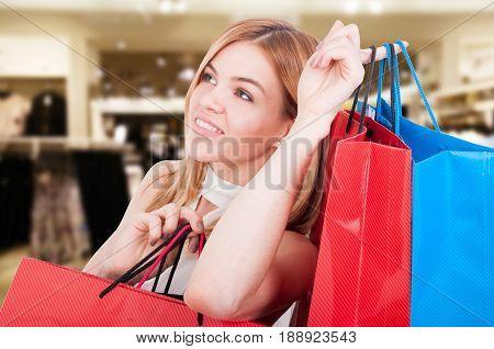 Beautiful Portait Of Woman At Shopping