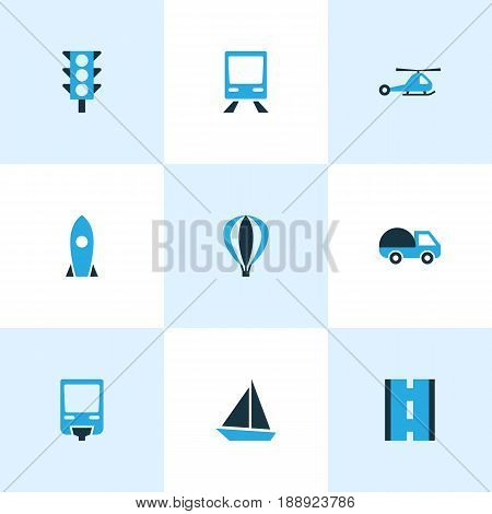 Transportation Colorful Icons Set. Collection Of Sailboat, Chopper, Monorail And Other Elements. Also Includes Symbols Such As Way, Bogie, Chopper.