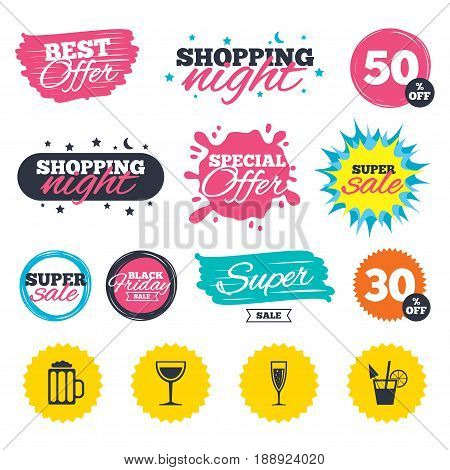 Sale shopping banners. Special offer splash. Alcoholic drinks icons. Champagne sparkling wine with bubbles and beer symbols. Wine glass and cocktail signs. Web badges and stickers. Best offer. Vector