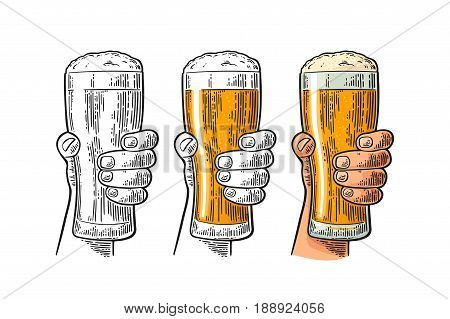 Man hand holding and clinking beer glass with foam. Drawing in different graphic styles. Color and monochrome vintage engraving vector illustration. Isolated on white background.