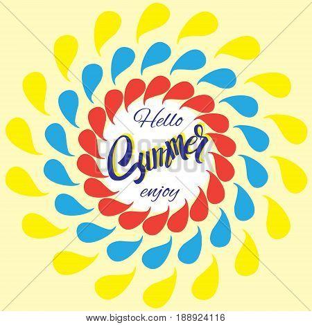 The sun icon. Bright rays of light. Cute cartoon luminous object. Hello summer text. A bright background. Flat design. Vector illustration