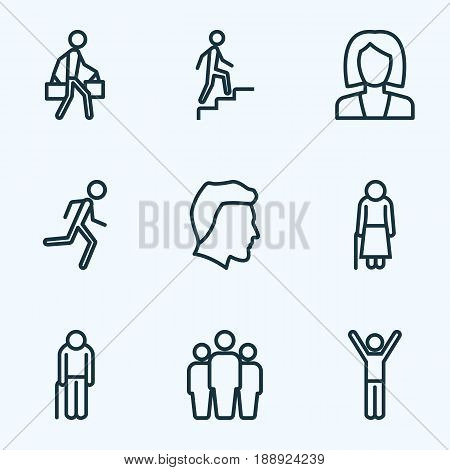 Person Outline Icons Set. Collection Of Climbing, Business, Pulling And Other Elements. Also Includes Symbols Such As Graybeard, Climbing, Stairs.