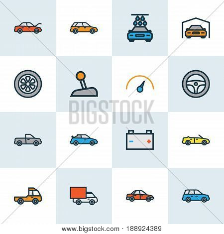 Auto Colorful Outline Icons Set. Collection Of Rudder, Pickup, Cabriolet And Other Elements. Also Includes Symbols Such As Bus, Automatic, Mover.