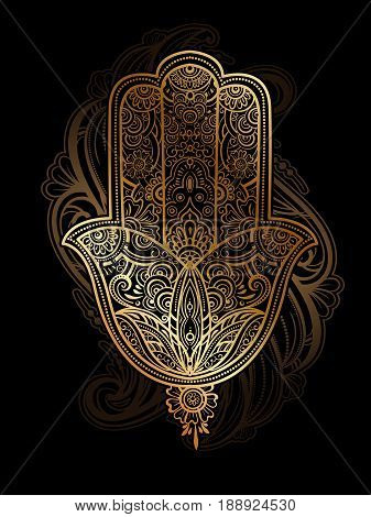 Hand drawn golden ornate amulet Hamsa Hand of Fatima. Ethnic amulet common in Indian, Arabic and Jewish cultures. Bohho style