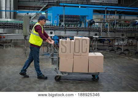 Male factory worker pulling trolley of cardboard boxes at drinks production factory