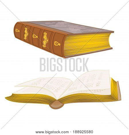 Old leather-bound books vintage hand draw vector illustration