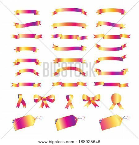 ribbon, banner, sale tag, bow tie isolated on white background. Ribbons banners vector collection. ribbon Holiday icons set template for design.