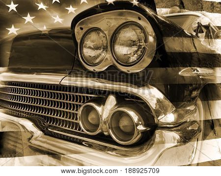 American retro police car and flag of the USA on background in vintage style