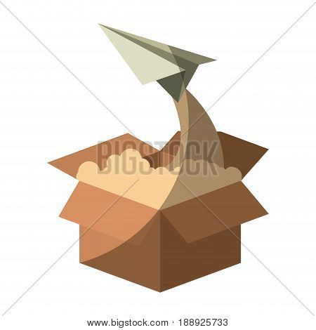 colorful silhouette of cardboard box and paper plane flying without contour and shading vector illustration