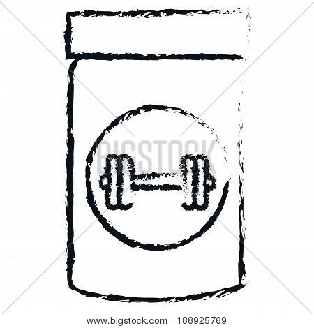 proteins bottle with dumbell vector illustration design