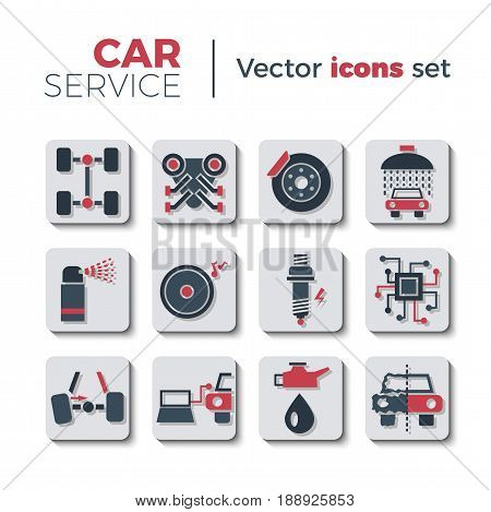 Car service flat icons set. Isolated on white background. Typical autoservice pictograms. Icons and signs for business. Vector illustration in flat style with simple shadows.