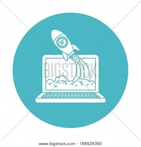 circle light blue with laptop computer and space rocket vector illustration