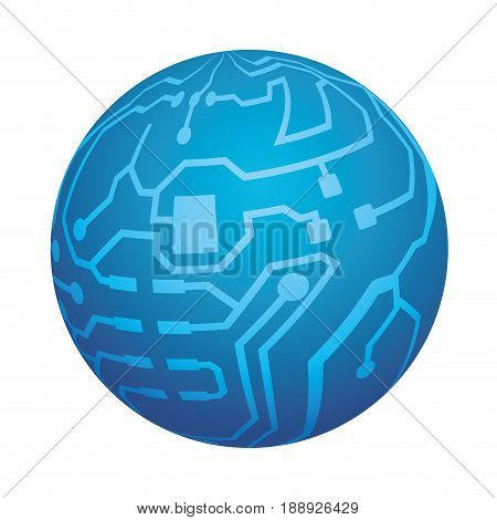 Microchip circuit sphere icon vector illustration graphic design