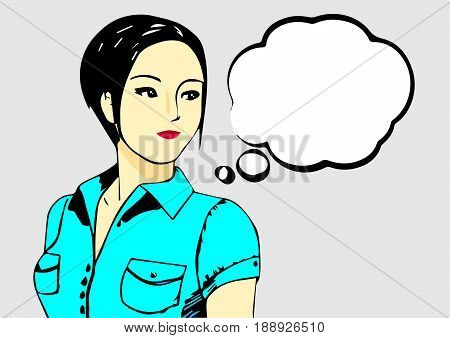 Young asian woman looking for the right, half length, in blue blouse. Woman with speech bubble Vector