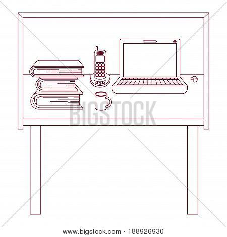 dark red line contour of desk home office basic vector illustration