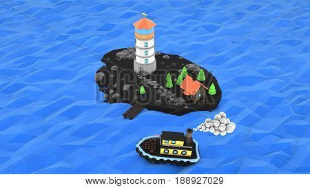 Low Poly island with lighthouse steamship illustration 3d rendering