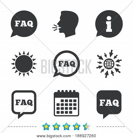 FAQ information icons. Help speech bubbles symbols. Circle and square talk signs. Information, go to web and calendar icons. Sun and loud speak symbol. Vector