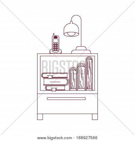 dark red line contour of nightstand with cordless phone and lamp and books stacking vector illustration