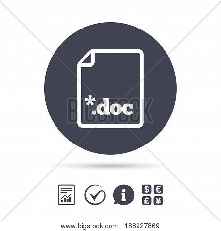 File document icon. Download doc button. Doc file extension symbol. Report document, information and check tick icons. Currency exchange. Vector