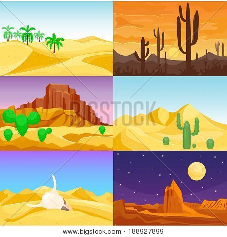 Desert mountains sandstone wilderness landscape background dry under sun hot dune scenery travel vector illustration. Sandstone africa outdoor adventure.