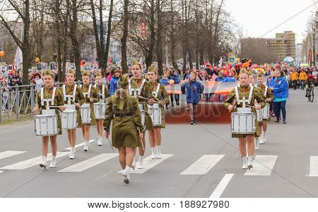 Kirishi, Russia - 9 May, The holiday procession of the action is an immortal regiment, 9 May, 2017. Preparation and conduct of the action Immortal regiment in small cities of Russia.