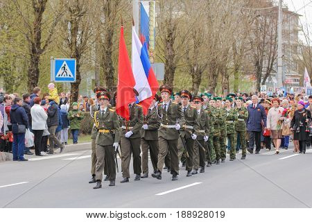 Kirishi, Russia - 9 May, Group of military standard bearers, 9 May, 2017. Preparation and conduct of the action Immortal regiment in small cities of Russia.