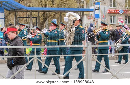Kirishi, Russia - 9 May, Military brass band, 9 May, 2017. Preparation and conduct of the action Immortal regiment in small cities of Russia.