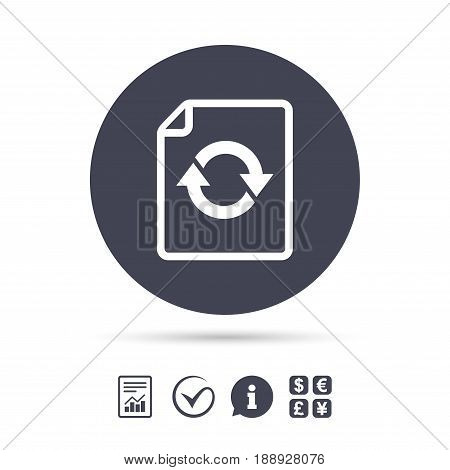 File document refresh icon. Reload doc symbol. Report document, information and check tick icons. Currency exchange. Vector