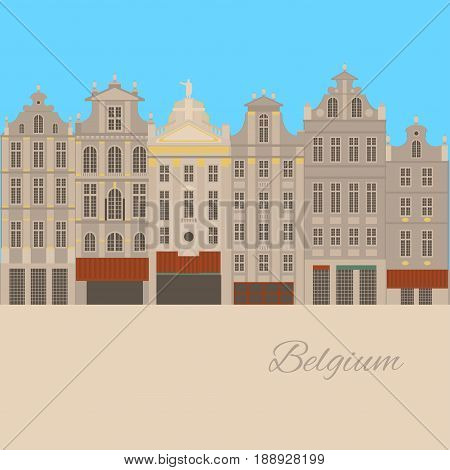 City sights. Brussels architecture landmark. Belgium country flat style travel elements. Famous square Grand place. Historic home facades