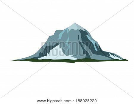 Mountain landscape snow nature travel hiking peak vector illustration. Top rock hill climbing high range silhouette outdoor adventure tourism mountain. Camping landscape hiking heap pile mount