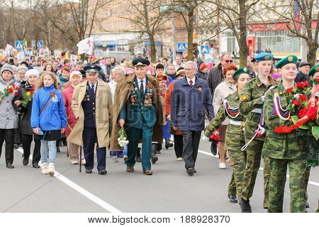 Kirishi, Russia - 9 May, Veterans in the action immortal regiment, 9 May, 2017. Preparation and conduct of the action Immortal regiment in small cities of Russia.
