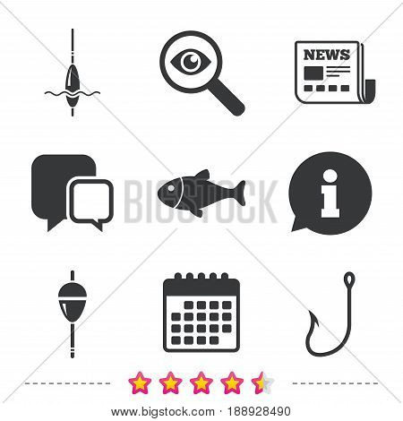 Fishing icons. Fish with fishermen hook sign. Float bobber symbol. Newspaper, information and calendar icons. Investigate magnifier, chat symbol. Vector