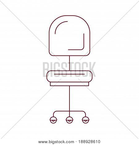dark red line contour of office chair front view vector illustration