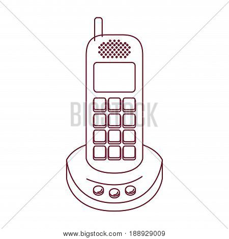dark red line contour of cordless phone vector illustration