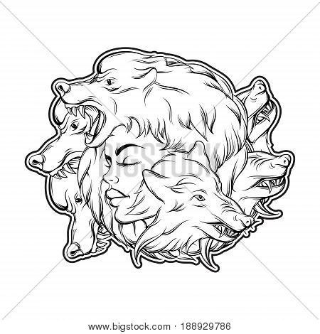 Vector illustration of young beautiful girl with angry wolf's muzzle. Mythological magic religion motif tattoo design element. Template for card poster banner print for t-shirt