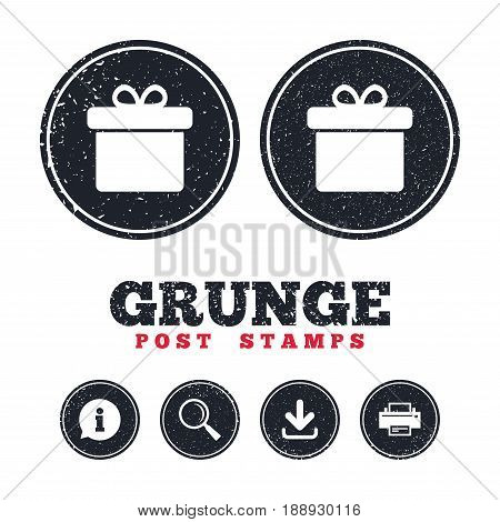 Grunge post stamps. Gift box sign icon. Present symbol. Information, download and printer signs. Aged texture web buttons. Vector