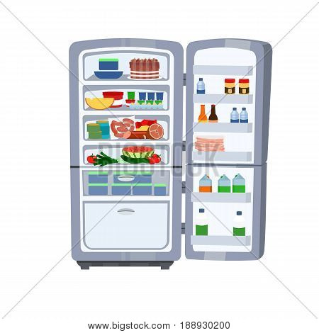 Vector cartoon illustration of Refrigerator full of food. Health food cocept. Hunger symbol.