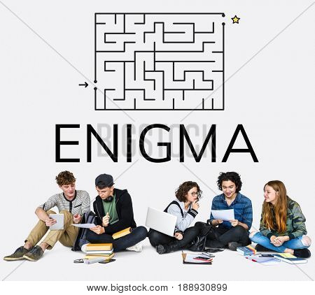 Group of people brainstorming about enigma concept