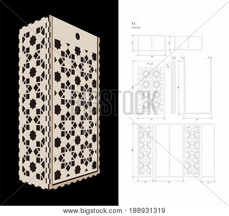 Cut out template for two bottles Wine gift slider Box or Wine  Glass Box (plywood 3 mm). Creative memory bottle pack with geometric design. Scheme is suitable for a laser cutting or printing