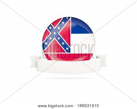 Flag Of Mississippi With Banner, Us State Round Icon