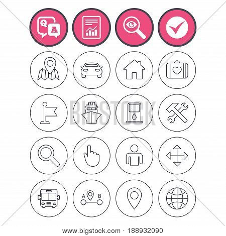 Question and answer, check tick and report signs. GPS navigation icons. Car, Bus and Ship transport. You are here, map pointer symbols. Search gas or petrol stations, hotels. A to B distance. Vector